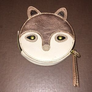 Fossil Gold Fox Zip Coin Purse Wallet